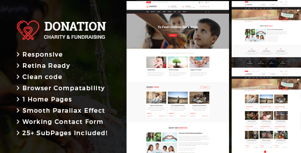 Donation - Responsive HTML Template for Charity & Fund Raising - Charity Nonprofit TFx Albin Arlen
