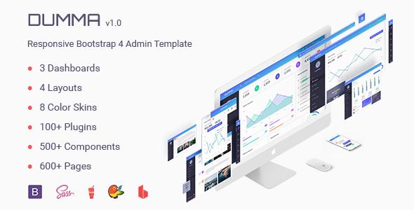 Dumma | Responsive Bootstrap 4 Admin Template + Landing Page - Admin Templates Site Templates TFx Ben Baghdasar