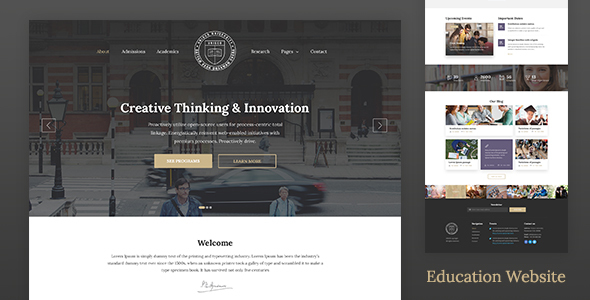 Education Website Template for School, College & University — Unisco HTML - Business Corporate TFx Ian Isador