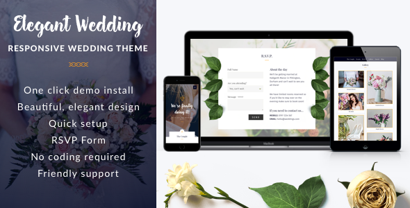 Elegant Wedding - Responsive Wedding WordPress Theme - Wedding WordPress TFx Darren Toros