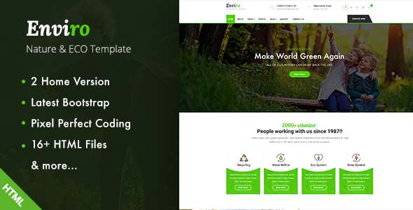 Enviro – Environment / Non-Profit HTML Template – Environmental Nonprofit TFx Frankie Jesse