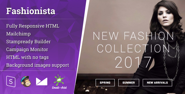 Fashion – Responsive Email with Mailchimp Editor & StampReady Builder – Newsletters Email Templates TFx Russel Hewie