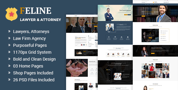 Feline - Lawyers Attorneys & Law Firm PSD Template - Business Corporate TFx Bronte Elvin
