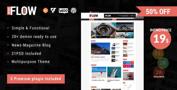 Flownews - Magazine and Blog WordPress Theme TFx Arlen Attila