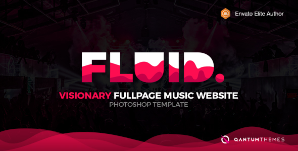 Fluid. Visionary Fullpage Music Photoshop Template - Experimental Creative TFx Thorburn Jermaine