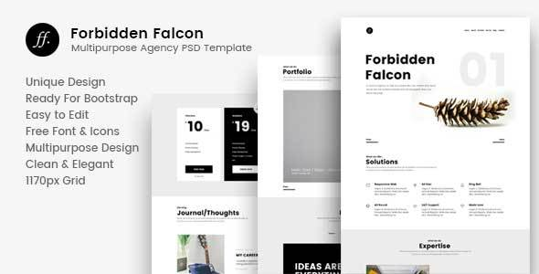 Forbidden Falcon – Multipurpose Agency PSD Template - Corporate PSD Templates TFx King Nathan