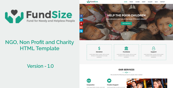 FundSize - NGO, Non Profit and Charity HTML Template - Nonprofit Site Templates TFx Blake Davy