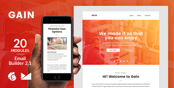 Gain Email Template + Online Emailbuilder 2.1 - Newsletters Email Templates TFx Noah Micheal