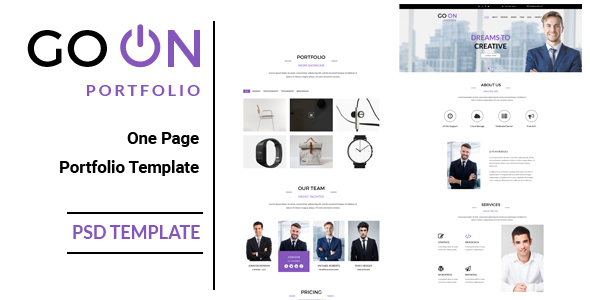 Go On : One Page Portfolio PSD Template - Portfolio Creative TFx Kyou Val