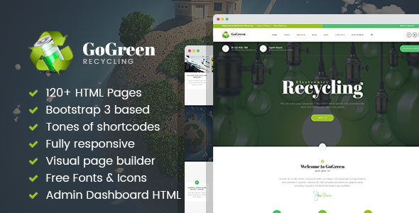 GoGreen - Waste Management and Recycling HTML Template with Builder - Business Corporate TFx Caleb Jarvis
