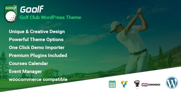 Goolf - Golf Club WordPress Theme TFx WordPress Hiram Harvey