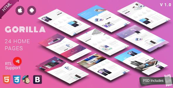 Gorilla | Responsive App Landing Page - Technology Site Templates TFx Burton Buddha