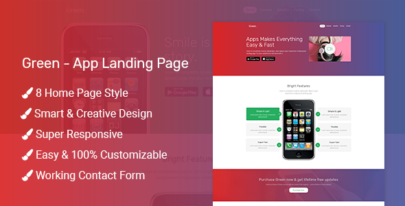 Green - App Landing Page - Landing Pages Marketing TFx Bertram Kenny
