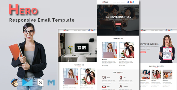 HERO - Multipurpose Responsive Email Template With Stamp Ready Builder Access - Email Templates Marketing TFx Carloman Zavier
