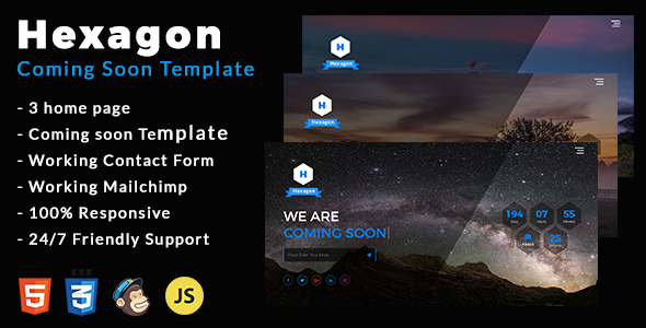 Hexagon - Coming Soon Template - Under Construction Specialty Pages TFx Cheyenne Takehiko