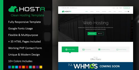 Hostr - Awesome Clean Hosting Responsive Template - Hosting Technology TFx Grayson Shayne