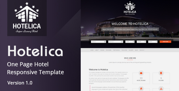 Hotelica - One Page Hotel Responsive Template TFx Temple Delroy
