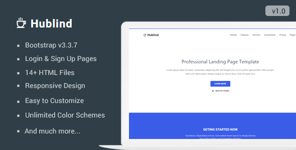 Hublind - Responsive Landing Page Template - Landing Pages Marketing TFx Cyril Shannon