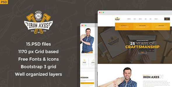Iron Axes – Wood Work/Carpentry PSD Template – Business Corporate TFx Chandler Tyrrell