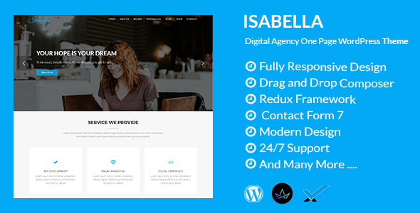 Isabella - Digital Agency One Page WordPress Theme - Technology WordPress TFx Devin Jemmy