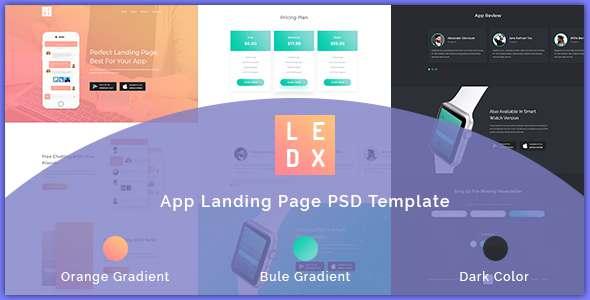 LEDX App Landing Page PSD Template - Technology PSD Templates TFx Marlowe Bennett