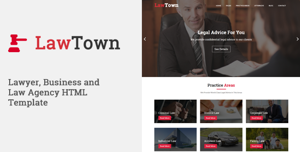 LawTown - Lawyer, Business and Law Agency HTML Template - Corporate Site Templates TFx Elwood Satchel