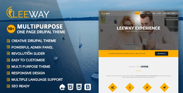 Leeway - Multipurpose One Page Drupal Theme - Creative Drupal TFx Frank Burke