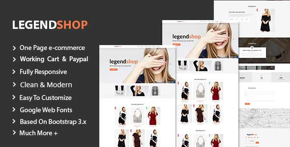 LegendShop One Page Multi Purpose eCommerce Templates TFx Homer Dax