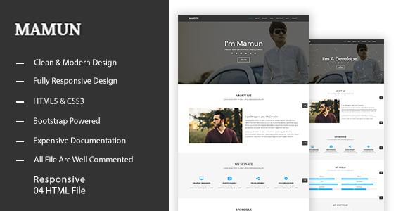 MAMUN - Personal Portfolio Template - Portfolio Creative TFx Ashton Isaac