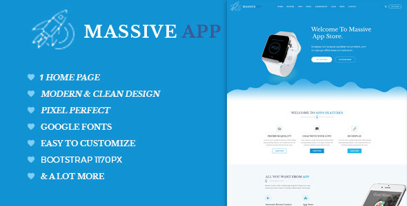 Massive APP Landing Page PSD Template - Marketing Corporate TFx Lane Timour