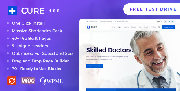 Medical Cure - Health and Medical WordPress Theme TFx Tobias Ethelbert