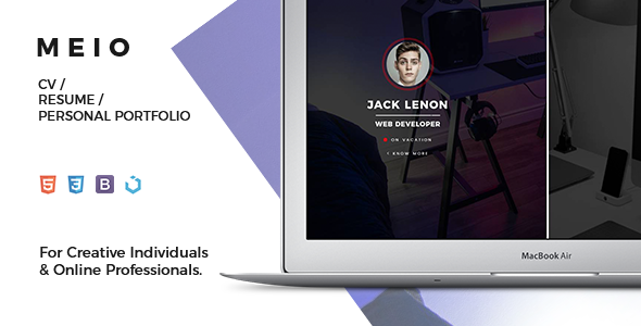 Meio – Splitted Portfolio / CV / Resume for Creatives & Online Professionals – Creative Site Templates TFx Kody Dawson
