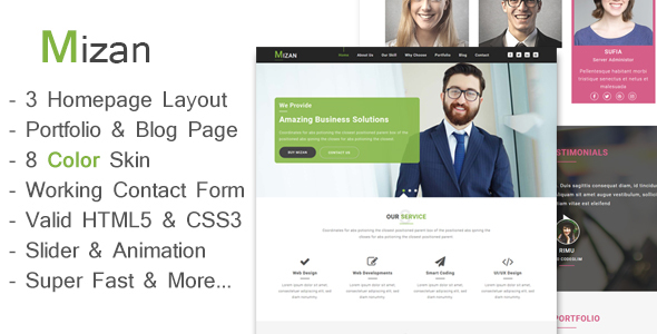 Mizan - One Page Business And Corporate HTML Template - Business Corporate TFx Cahaya Mordikai