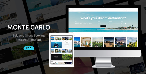 Monte Carlo - Bold And Sharp Booking Hotel PSD Theme TFx Innocent Lake