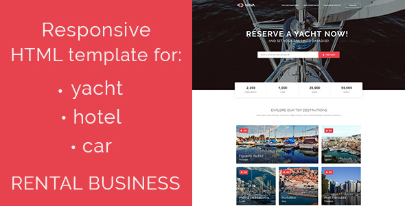 Nava – responsive HTML5 template for yacht, car, hotel rent – Retail Site Templates TFx Bronte Cornelius