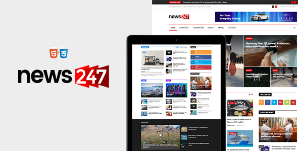 News247 - News Magazine Newspaper HTML5 Template - Entertainment Site Templates TFx Hammond Weston