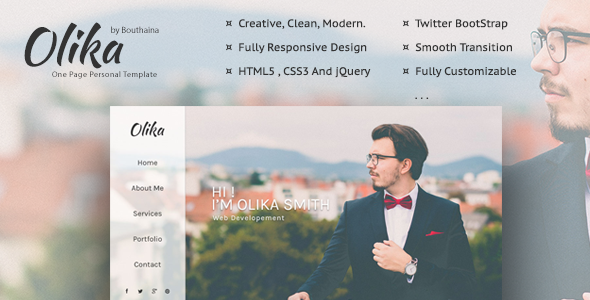 Olika - One Page Personal Template - Personal Site Templates TFx Connell Roswell