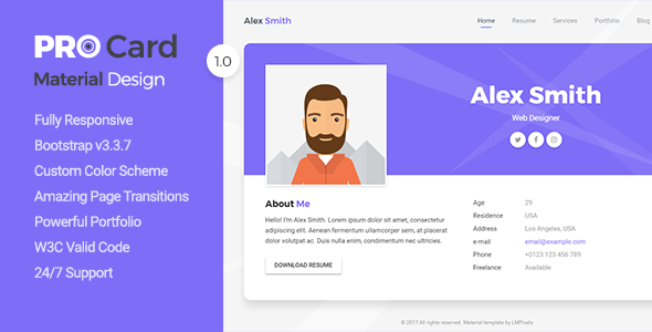 PRO Card – Material CV / Resume & vCard Template - Virtual Business Card Personal TFx Laurence Darnell