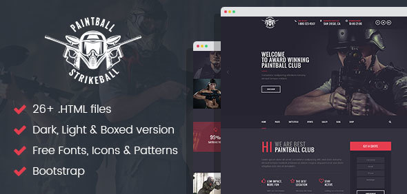 Paintball & Strikeball Club - Premium HTML5 Template - Corporate Site Templates TFx Clayton Issy