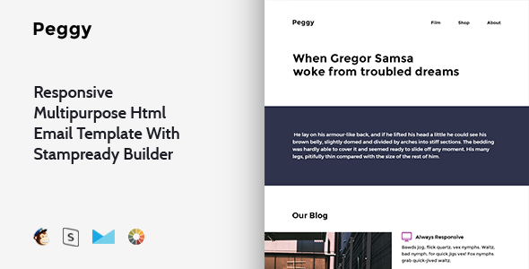 Peggy – Responsive Multipurpose Email Template + Stampready Builder – Email Templates Marketing TFx Grigor Yoshirou