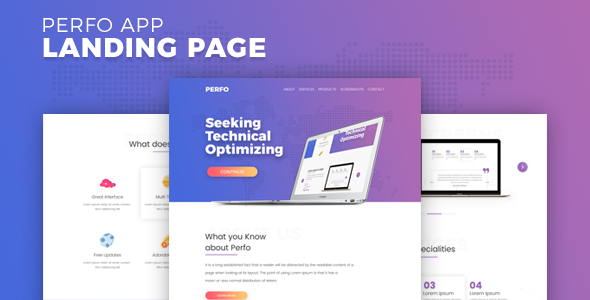 Perfo - Professional App Landing Page. - Technology Site Templates TFx Tyrrell Lucius