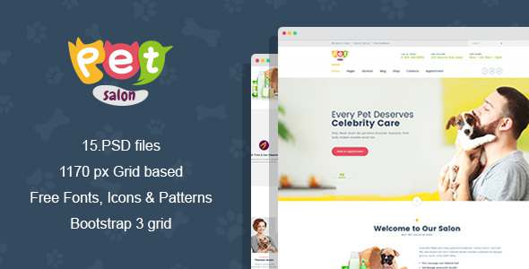 Pet Salon - Pet Grooming PSD Template TFx Ray Joshua