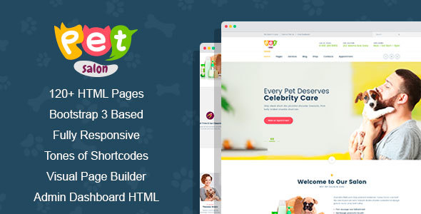 Pet Salon - Pet Grooming HTML Template with Visual Page Builder and Dashbord Front End - Business Corporate TFx Yancy Lucan