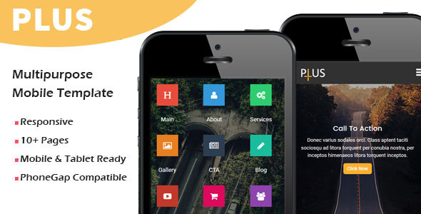 Plus - Multipurpose Responsive Mobile Template - Mobile Site Templates TFx Zeke Brannon