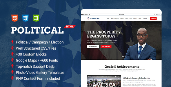 Political - Multipurpose Campaign, Election HTML Template - Political Nonprofit TFx Arsen Raynard