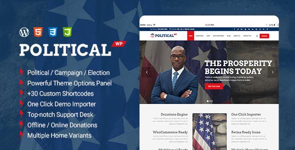 PoliticalWP - Multipurpose Political, Campaign, Election WordPress Theme - Political Nonprofit TFx Rudolf Ariel