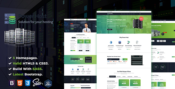 Power Host - Web Hosting & Corporate Business HTML5 Template - Hosting Technology TFx Braxton Adair