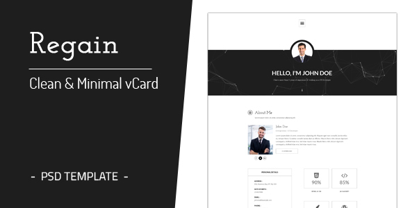 Regain - Clean & Minimal Personal vCard Template - Virtual Business Card Personal TFx Rhett Aldous
