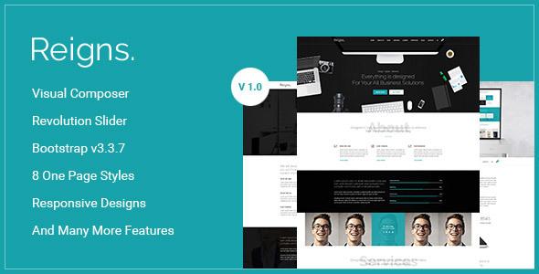 Reigns - Professional One Page Multipurpose WordPress Theme TFx Eliott Aurangzeb