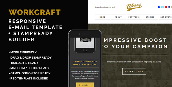Responsive Email + Stampready Builder, Workcraft – Newsletters Email Templates TFx Hedley Woody